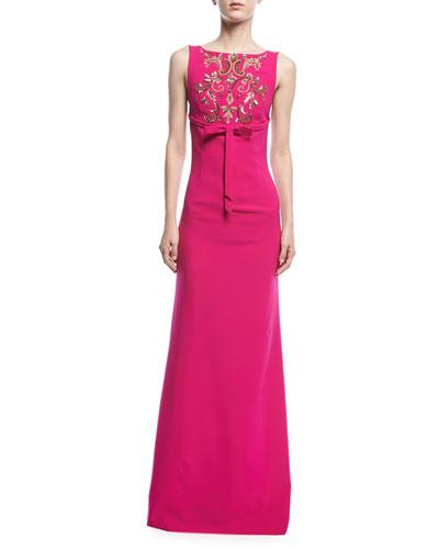 Square Back Gown Embroidered Somerset Fuchsia Babi Sachin xAqw6tBIW