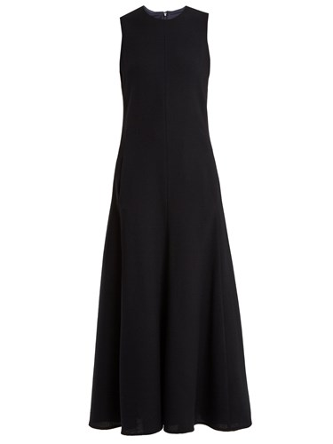 Navy Front Pocket Raey Crepe Dress Midi X5ZP1