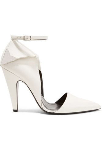 Calvin Klein Collection Kadeance Embellished Leather Pumps White Uaa3g9O