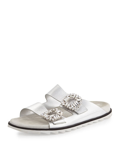 Roger Vivier Strass Buckle Two Band Slide Sandal Silver 4DuKFsbog