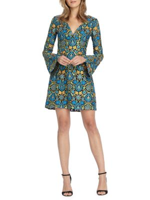 Monique Lhuillier Printed Bell Sleeve Fit And Flare Mini Dress Bright Teal A0rE9W