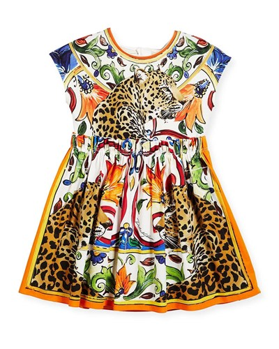 Dolce & Gabbana Maiolica Cheetah Print Cotton Dress Multi LuFND
