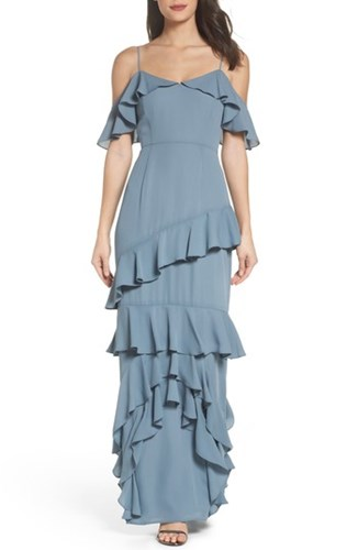 WAYF Women's Danielle Off The Shoulder Tiered Crepe Dress Granite TwCEgvVu