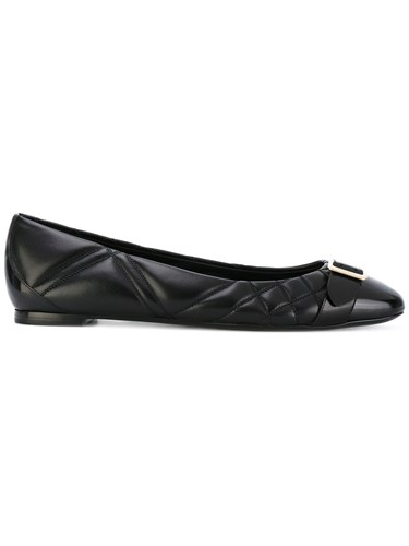Burberry Quilted Ballerinas Lamb Skin Leather Black l0MZfSh