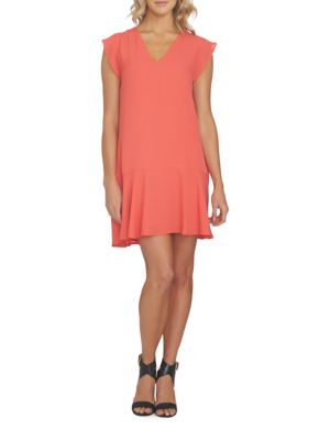 State 1 Solid Flounced Orange Dress ZOXqdO