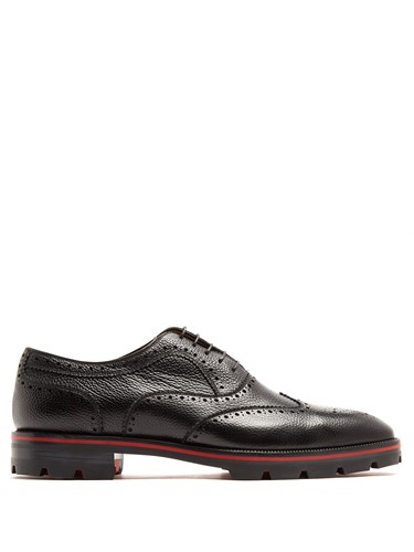 Christian Louboutin Charlie Grained Leather Brogues Black dKrJXH