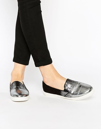 Tipped Black Silver Ink Plimsolls Lost 4wPpqp