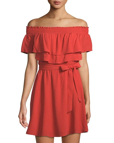 Lovers + Friends Suntime Off The Shoulder Ruffled Dress Red cVS8r