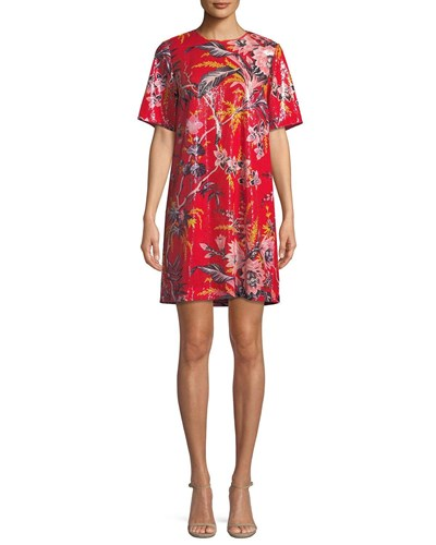 Diane von Furstenberg Sequined Floral Print Short Sleeve Shift Dress Orange Pattern NoWTNpFi