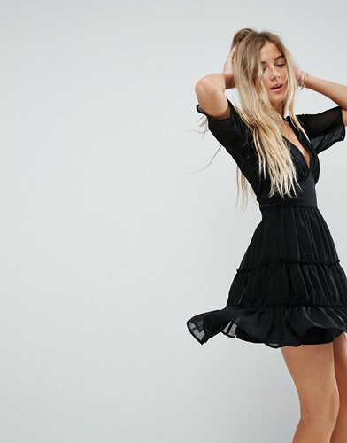 Asos Soft Mini Dress With Tiers Black KGGcTYHn