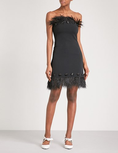 Crepe Feather David Koma Trim Ostrich Black Dress qFcIwgPC