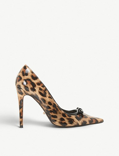 Dune Animal Bow Detail Court Shoes Leopard Patent Synthetic KRQZ3eMbUg
