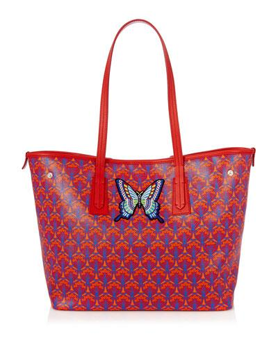 Liberty London Marlborough Iphis Butterfly Patches Tote Bag Red h1iYSU