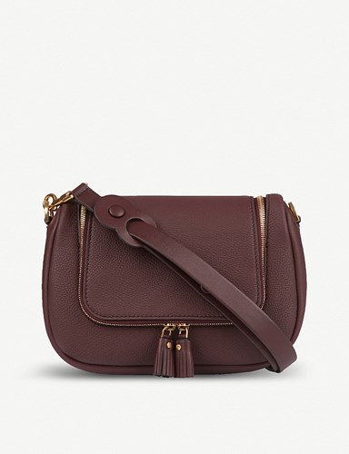 Leather Satchel Grained Hindmarch Anya Vere Claret Soft 8wxBIapqg