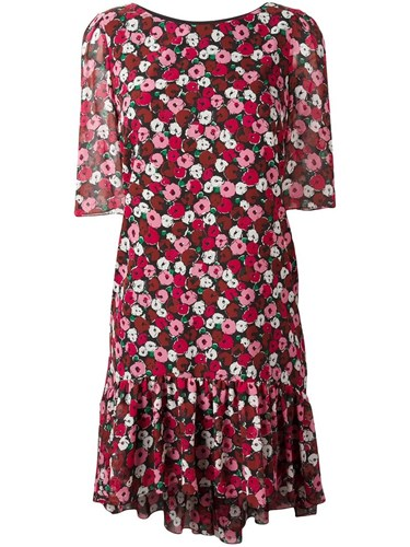 Saint Laurent Floral Print Babydoll Dress Red bXEPUL