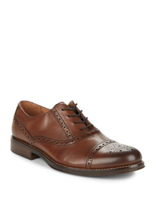 G.H. Bass Woolf Leather Captoe Brogued Derby Shoes Dark Tan TlPMh