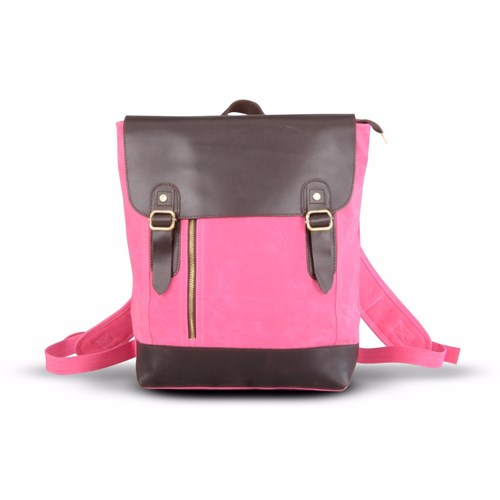 EAZO Zip Front Waxed Canvas And Leather Backpack Pink Purple zsfHd