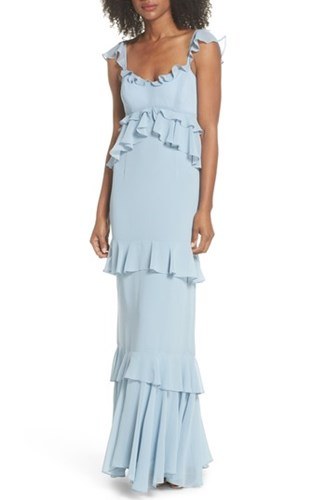 Maxi Gown Ruffle The Gywneth Cloud WAYF Blue qRS4zw