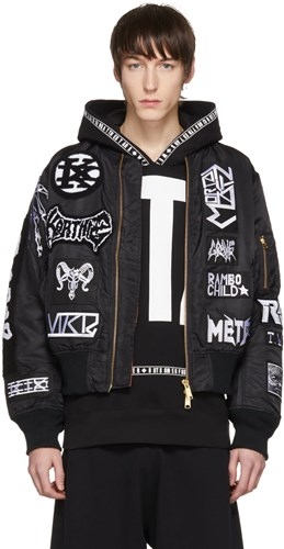 Black Alpha Industries Edition Seventeen White Patches Bomber Jacket