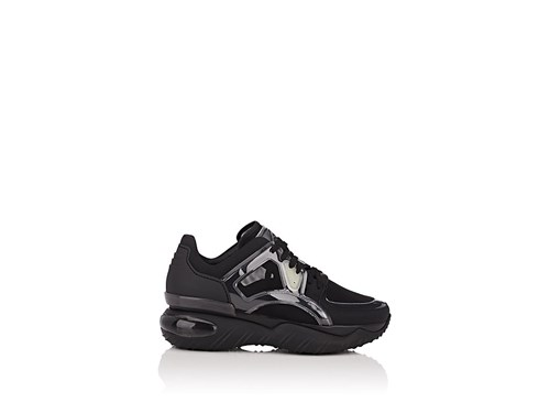 Nylon And Leather Sneakers Black