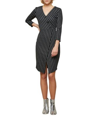 Miss Selfridge Stripe Wrap Pencil Dress Black White e0qKROE9Di