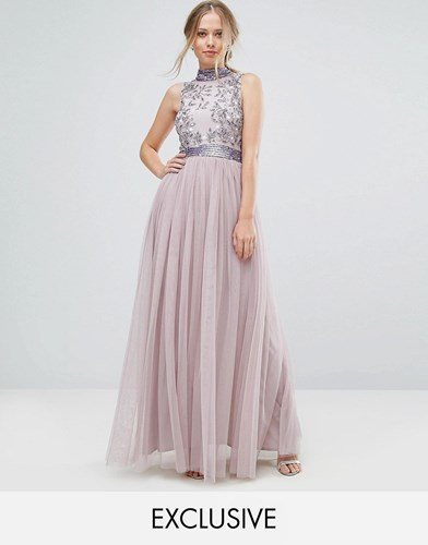 Amelia Rose Embellished Maxi Dress With Tulle Skirt Iris Purple d8h4d