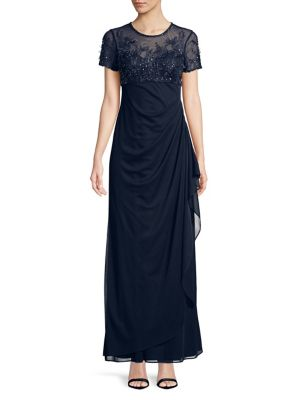 Plus Xscape Long Navy Gown Beaded Evenings CwZZnp48