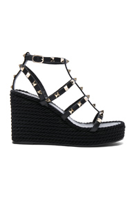 Wedges Espadrille Torchon Black Valentino Leather Rockstud In wIgtqzx5