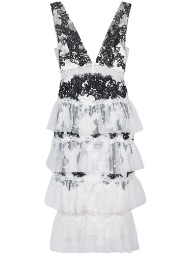 Embroidered Notte Ruffle Nylon White Cocktail Dress Marchesa Rayon qagEdTqx