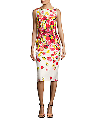 David Meister Floral Printed Dress Red Pink kJPx9b