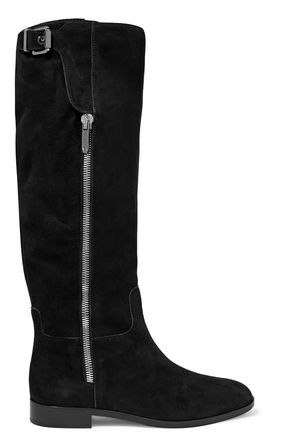 Sergio Rossi Buckled Suede Boots Black LLPc0