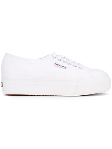 Cotton Rubber 41 Lace Women Superga Platform White Up Sneakers qXxwH6P