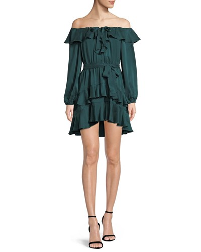Zimmermann Flounce Off The Shoulder Silk Mini Dress Forest sIGMF