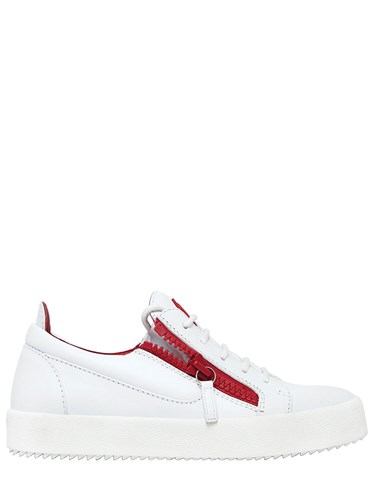 Zanotti Leather 20Mm Zip Tone Two Red Sneakers Giuseppe Up White 1AqpwA