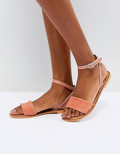 Asos Florence Leather Flat Sandals Orange 4lJW3WY5L9