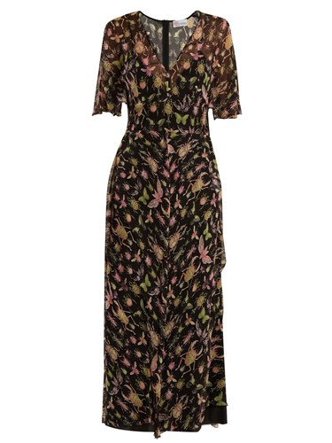 RED Multi Midi Black Bug Silk V Valentino Print Chiffon Neck Dress qvwrqO0x