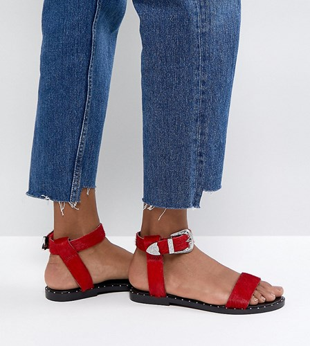 Asos Leather Faz Pony Sandals Western Red 77vrxB