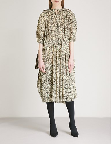 Balenciaga Dollar Print Woven Dress Beige Black eEEIpjGBBA
