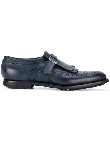 Church's Monk Strap Brogues Men Calf Leather Leather 6 Blue vmmNhKlsr
