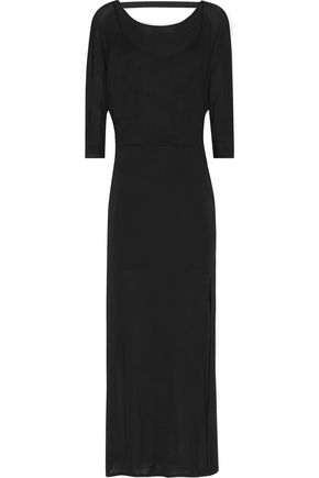 Splendid Draped Back Stretch Jersey Maxi Dress Black QvThc