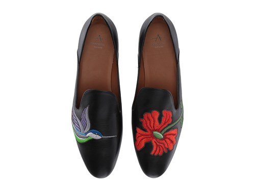 Aquatalia by Marvin K Emmaline Black Embroidered Calf Shoes YML4CDOtLW