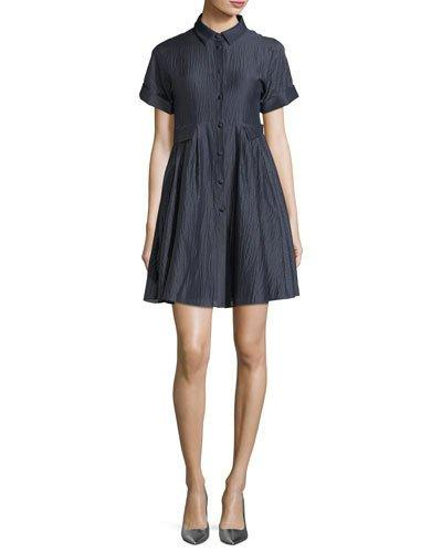 Button Crinkle Cotton Short Shirtdress Emporio Front Armani Sleeve Blue 5FXcwp
