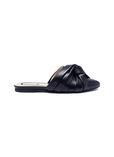 No.21 Knotted Leather Slippers Black jAOzVYYox5