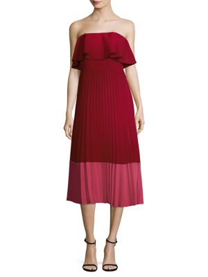 Aidan Mattox Color Block Pleated Dress Red 4LO15WQ