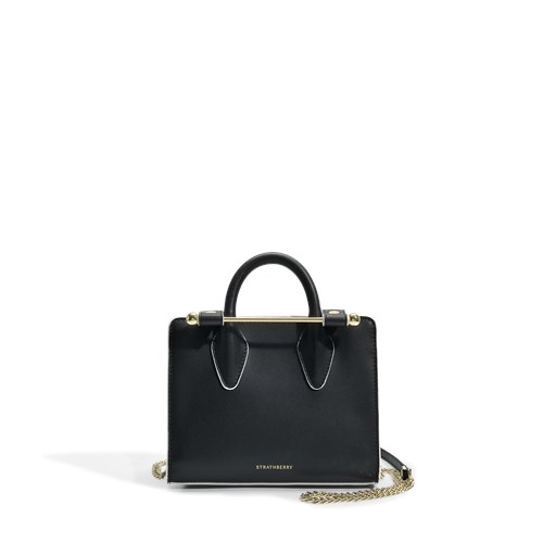 Bag In Leather Nano Black Tote Calfskin Strathberry The wqTfCBqP