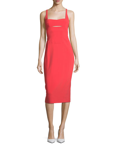Narciso Rodriguez Square Neck Bodice Slice Sheath Scuba Dress Red cq7Oe