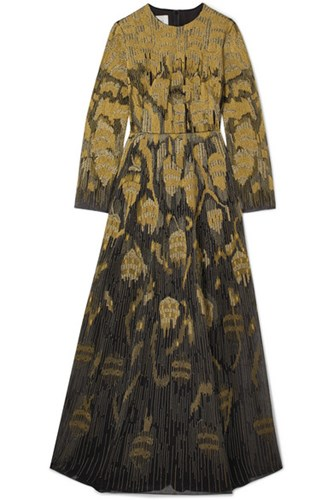 Valentino Metallic Embroidered Wool Blend And Tulle Gown Black axLQEW