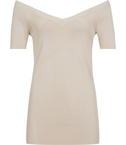 Reiss Rosina Knitted Short Sleeved Top In Apricot aaJl1