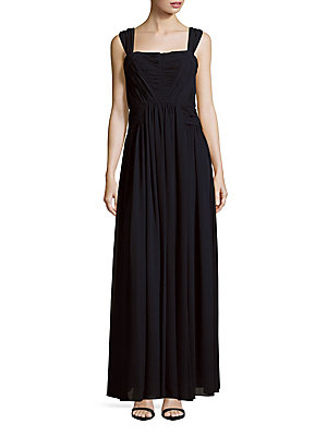 Vera Sleeveless Solid Wang Gown Navy w40qgaw