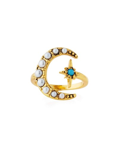 Tribute Moon And Starburst Ring Gold